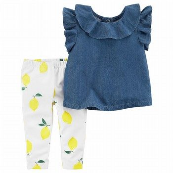 Carter's 2PC Flutter Chambray Top & Lemon Legging Set
