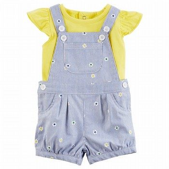Carter's 2PC Flutter-Sleeve Tee & Embroidered Shortall Set