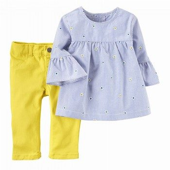 Carter's 2PC Embroidered Poplin Top & Twill Pant Set