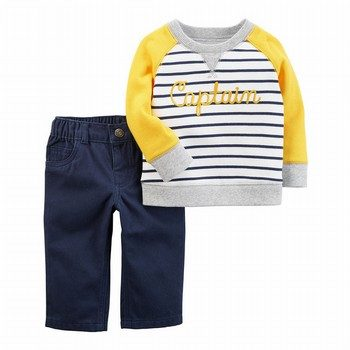 Carter's 2PC French Terry Pullover & Twill Pant Set