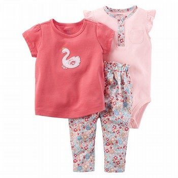 Carter's 3PC Floral Swan Bodysuit Pant Set
