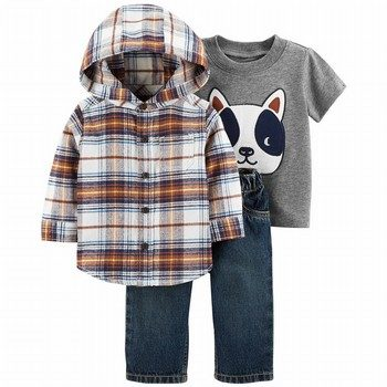 Carter's 3PC Button-Front Flannel & Jean Set