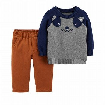Carter's 2PC Dog Sweater & Twill Pant Set