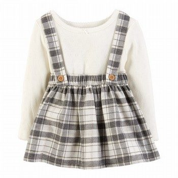 Carter's 2PC Bodysuit & Plaid Suspender Skirt Set