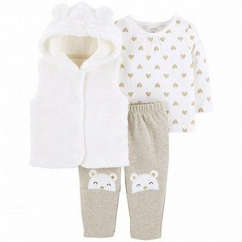 Carter's 3PC Fuzzy Vest Set