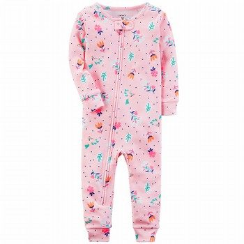 Carter's Neon Floral Snug Fit Onepiece Cotton Footless PJs