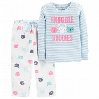 Carter's 2PC Snuggle Buddies Snug Fit Cotton & Fleece PJs