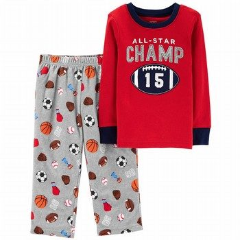 Carter's 2PC Football Snug Fit Cotton & Fleece PJs