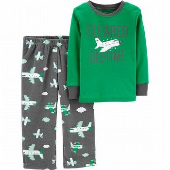 Carter's 2PC Airplane Cotton & Fleece PJs
