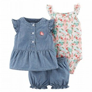 Carter's 3PC Floral Little Short Set