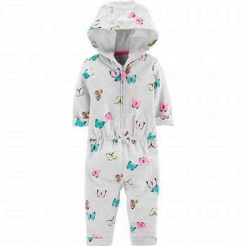 Carter's Hooded Zip-Up Butterfly Jumpsuit