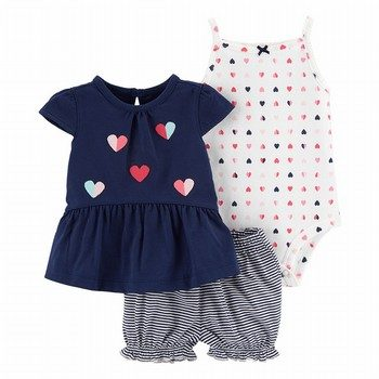 Carter's 3PC Heart Little Short Set