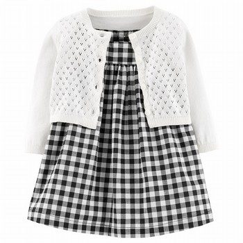 Carter's 2PC Gingham Dress & Cardigan Set