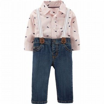 Carter's 2PC Button-Front Bodysuit & Suspender Jean Set