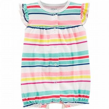 Carter's Striped Heart Snap-Up Romper
