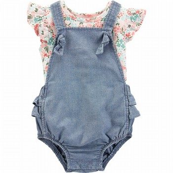 Carter's 2PC Floral Tee & Bubble Romper Set