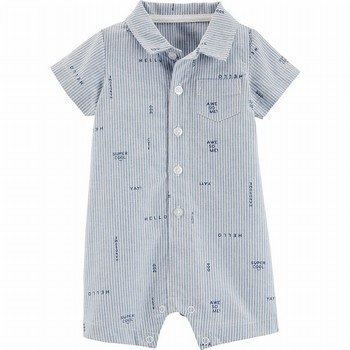 Carter's Striped Schiffli Button-Front Romper