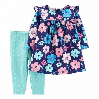 Carter's 2PC Floral Dress & Polka Dot Legging Set