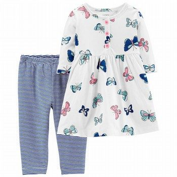 Carter's 2PC Butterfly Dress & Striped Legging Set