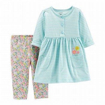 Carter's 2PC Striped Dress & Floral Legging Set