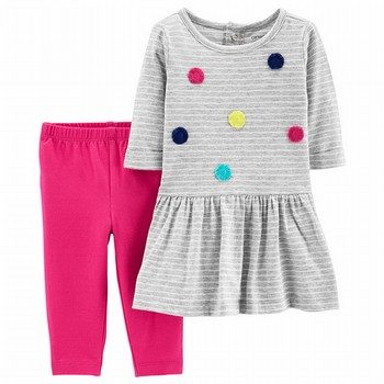 Carter's 2PC Pom Pom Dress & Legging Set