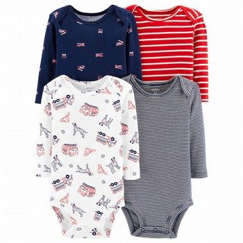 Carter's 4PK Striped Firetruck Original Bodysuits