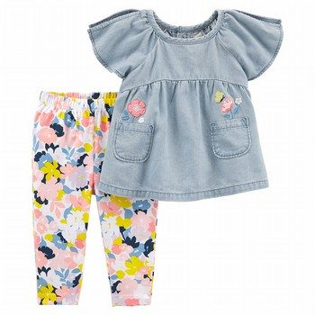 Carter's 2PC Chambray Top & Floral Legging Set