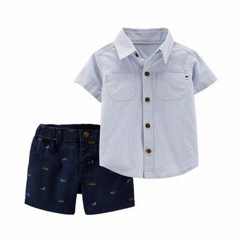 Carter's 2PC Striped Button-Front & Twill Short Set