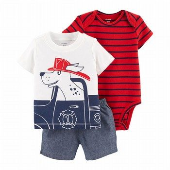Carter's 3PC Firefighter Little Short Set