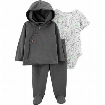 Carter's 3PC Dinosaur Cardigan & Footed Pant Set
