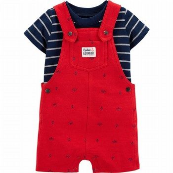 Carter's 2PC Striped Tee & Anchor Shortalls Set