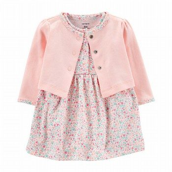 Carter's 2PC Floral Bodysuit Dress & Cardigan Set