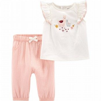 Carter's 2PC Llama Jersey Top & Gauze Pant Set