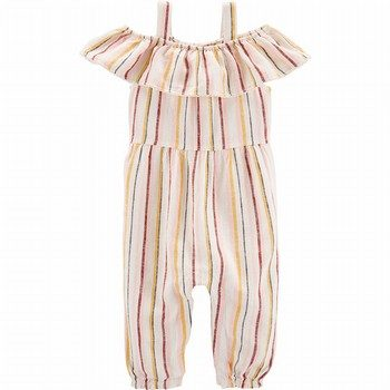 Carter's Striped Cold Shoulder Linen Jumpsuit