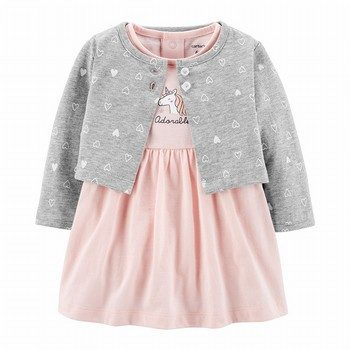 Carter's 2PC Unicorn Bodysuit Dress & Cardigan Set