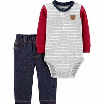 Carter's 2PC Bear Henley Bodysuit Pant Set