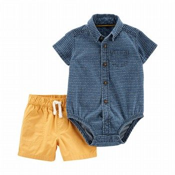 Carter's 2PC Denim Button-Front Bodysuit & Poplin Short Set