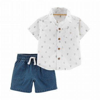 Carter's 2PC Bear Button-Front Top & Denim Short Set