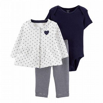 Carter's 3PC Heart Quilted Little Cardigan Set