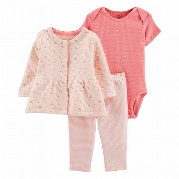 Carter's 3PC Quilted Little Cardigan Set