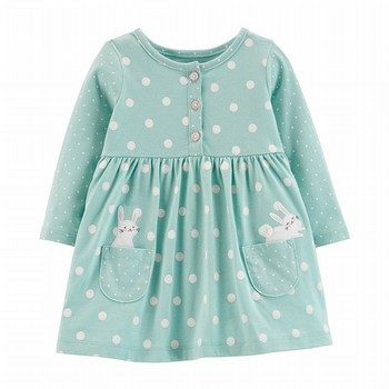 Carter's Polka Dot Bunny Jersey Dress