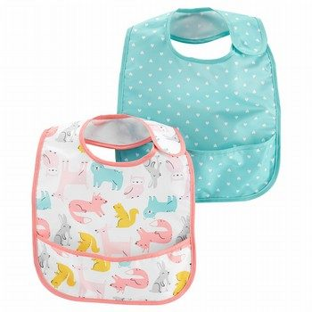 Carter's 2PK Hearts & Animal Feeding Bibs
