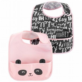 Carter's 2PK Slogans & Raccoon Feeding Bibs