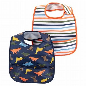 Carter's 2PK Stripes & Dinosaur Feeding Bibs