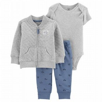 Carter's 3PC Quilted Heather Cardigan Set