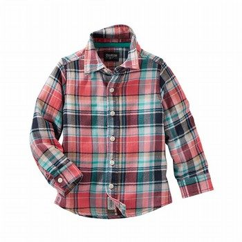 OshKosh Plaid Herringbone Button-Front Shirt