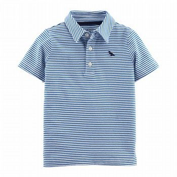 Carter's Striped Dinosaur Jersey Polo