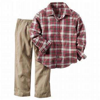 Carter's 2PC Button-Front Shirt & Canvas Pant Set