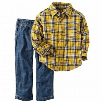 Carter's 2PC Plaid Button-Front & Denim Set