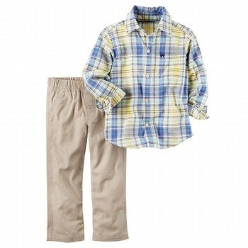 Carter's 2PC Plaid Shirt & Canvas Pant Set